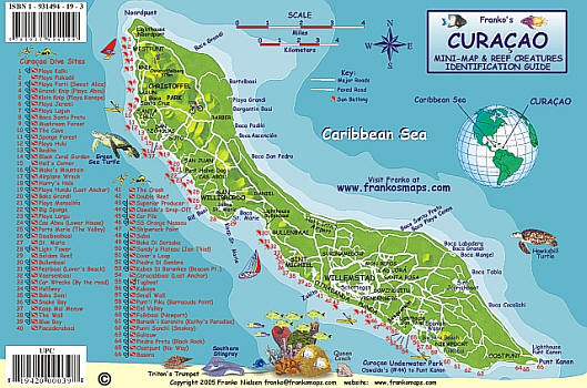 Curacao Reef Creatures Road and Recreation Map.