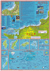 Guam Road and Road and Recreation Map, America.