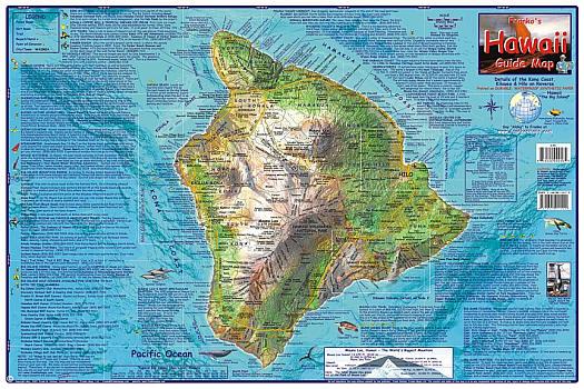 Hawaii, The Big Island, Guide Road and Tourist Map, Hawaii State, America.
