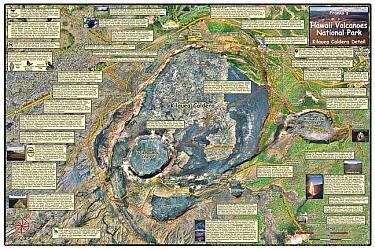 Hawaii Volcanoes National Park, Road and Recreation Map, Hawaii, The Big Island, Hawaii State, America.