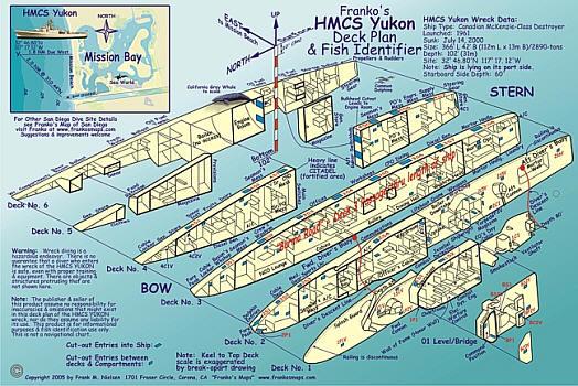 HMCS Yukon Wreck & Fish Identifier, Road and Recreation Map, California, America.
