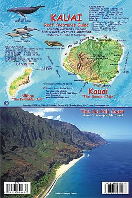 Kauai Reef Creatures Guide (Fish Card) Road and Tourist Map, America.
