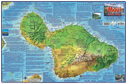 Maui Guide, Road and Recreation Map, Hawaii, America.