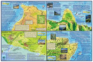 Molokai Road and Recreation Guide Map, Hawaii, America.