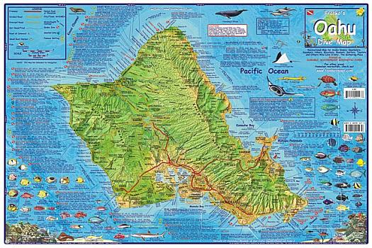 Oahu Diving Road and Recreation Map, Hawaii, America.