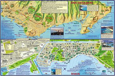 Oahu Guide Road and Recreation Map, Hawaii, America.