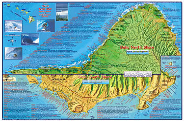 Oahu Surfing Road and Recreation Map, Hawaii, America.