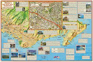 Oahu Obama's Guide Road and Recreation Map, Hawaii, America.
