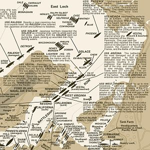Pearl Harbor Road and Tourist Map, Hawaii, America.