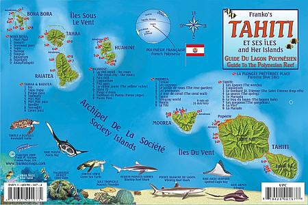 Tahiti Reef Creatures Guide (Fish Card), Road and Recreation Map.