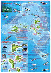 Truk Lagoon (Chuuk) Guide and Dive, Road and Recreation Map.