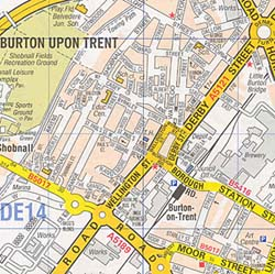 Burton Upon Trent Street ATLAS, England, United Kingdom.