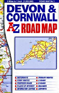 Devon and Cornwall, Road and Tourist Map.