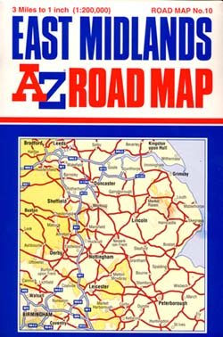 East Midlands Road and Tourist Map.