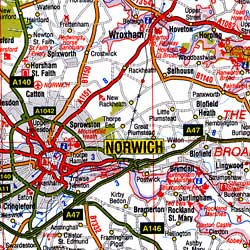 England South East and Central Road and Tourist Map.
