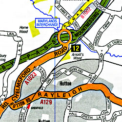 """London """"Main Road M25"""" Road and Tourist Map."""