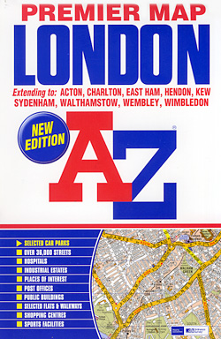"LONDON ""Premier"" Map, England, United Kingdom."