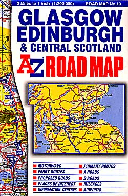 Scotland, Central, Road and Shaded Relief Tourist Map.