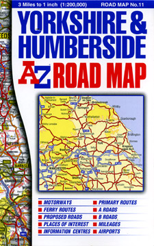 Yorkshire and Humberside Road and Tourist Map.