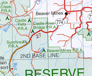 Alberta Southwest and BC Southeast Road and Topographic Tourist Map, British Columbia and Alberta, Canada.