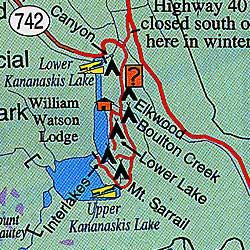 Banff and Jasper National Parks, Road and Topographic Tourist Map, British Columbia and Alberta, Canada.