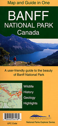 Banff National Park (Map and Guide), Road and Topographic Tourist Map, British Columbia and Alberta, Canada.