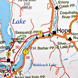 British Columbia, Southwest, and Northern Washington, Road and Tourist Map, Canada.