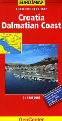 Dalmatian Coast, Road and Shaded Relief Tourist Map, Croatia.