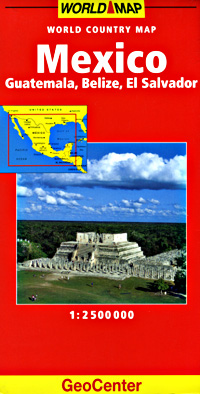 Mexico Road and Shaded Relief Tourist Map.