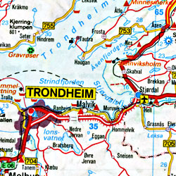 Scandinavia (Denmark, Norway and Sweden) Road and Shaded Relief Tourist Map.