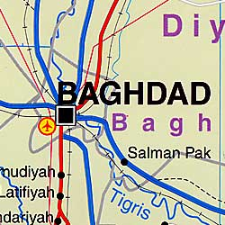Iraq Road and Physical Map.