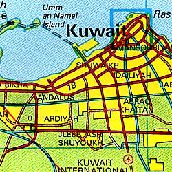 Kuwait Road and Tourist Topographic Map.
