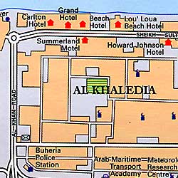United Arab Emirates, Road and Physical Tourist Map.