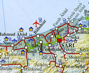 Iran and Tehran Road and Tourist Guide Map.