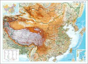 China Physical WALL Map.