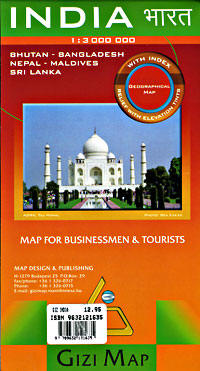 India, Nepal, Bhutan, Bangladesh, and Maldives, Road and Physical Tourist Map.