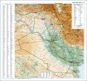 Iraq Physical WALL Map.