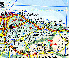 Libya Road and Physical Tourist Map.
