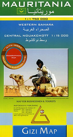 Mauritania Road and Physical Tourist Map.