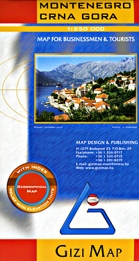 Montenegro Road and Physical Tourist Map.