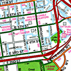 Cincinnati Street ATLAS, Ohio, America.
