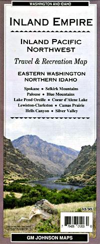 Inland Empire, Road and Recreation Map, Washington, America.