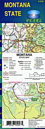 Montana Pearl Road and Tourist Map, America.
