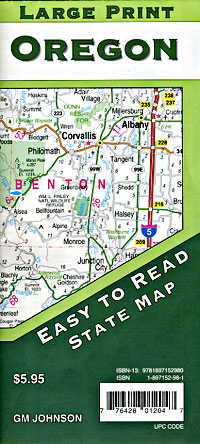 Oregon Large Print Road and Tourist Map, America.