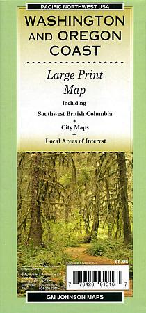 Washington and Oregon Coast Large Print Road and Tourist Guide map.
