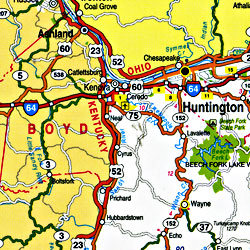 West Virginia Pearl Road and Tourist Map, America.