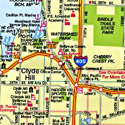 Great Eastside Bellevue, Road and Recreation Map, Washington, America.