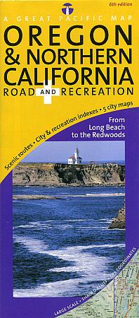 Oregon and North California Coast Road and Recreation Map, America.