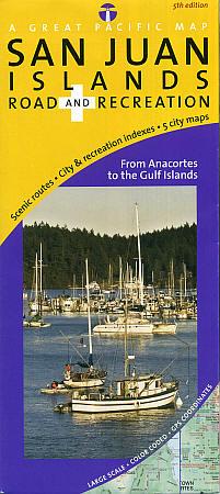 San Juan Islands, Road and Recreation Map, Washington, America.