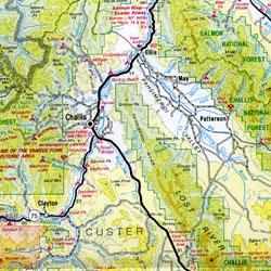 Idaho Road and Topographic Recreation Map, Idaho, America.